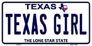 "Texas Girl Vanity License Plate Tag 6""x 12"" NCAA Longhorns Metal Auto Frame"