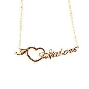 Florida Gators Necklace -Script  Heart + NCAA Logo Team Womens School