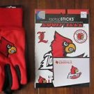 NCAA Louisville Sports Utility Garden Gloves Two-Tone Adult And Laptop Decal Red