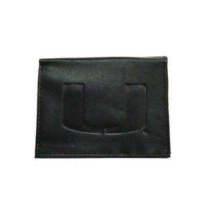 NCAA Miami Hurricanes Wallet Team Black Tri-Fold Leather Brand New Logo ACC