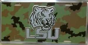 LSU TIGERS LICENSE PLATE CAR TRUCK TAG   CAMO METAL EMBOSSED NCAA MSU STATE NEW