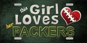 """This Girl Loves Her Packers License Plate Tag 6"""" x 12"""" NFL Green Bay Metal Auto"""