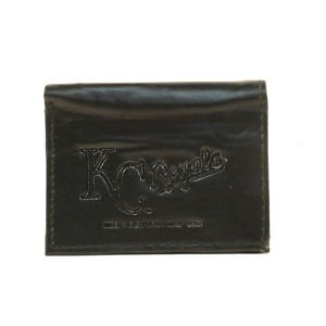MLB Royals Team Black Tri-Fold Leather Wallet Brand New Kansas City Logo