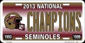 """Ncaa Seminoles Vanity License Plate Tag 6""""x12"""" Fsu Noles State Metal Throwback"""