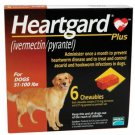 HEARTGARD PLUS Dogs CHEWABLES 51 – 100 LBS – BROWN 6 PACK