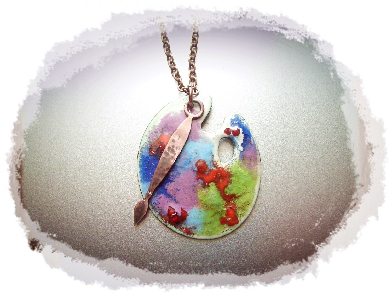 Necklace, Copper Pendant - Art Palette