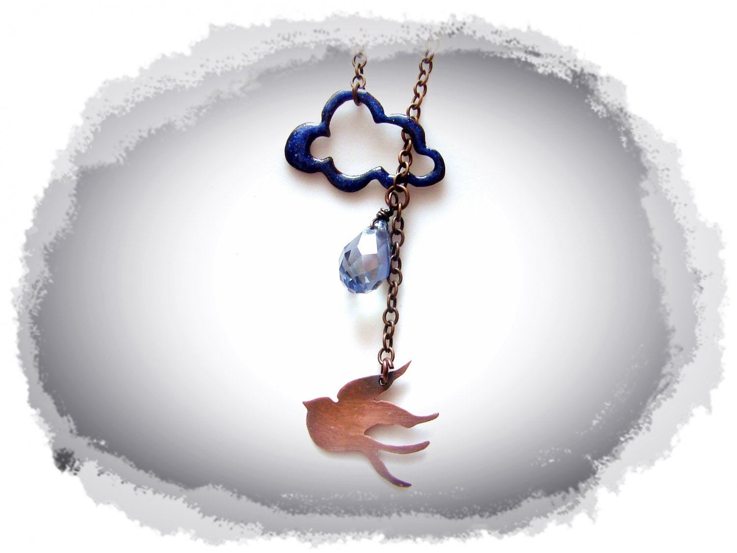 Y Necklace - Thundercloud and Bird
