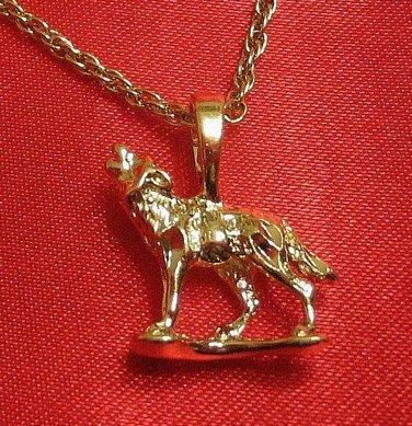 14K 14KT K Double Gold Filled Bonded Dog/Wolf Charm Pendant