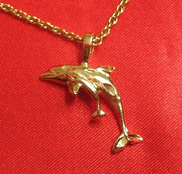 14K 14KT Double Gold Filled Dolphin and Baby Charm/Pendant