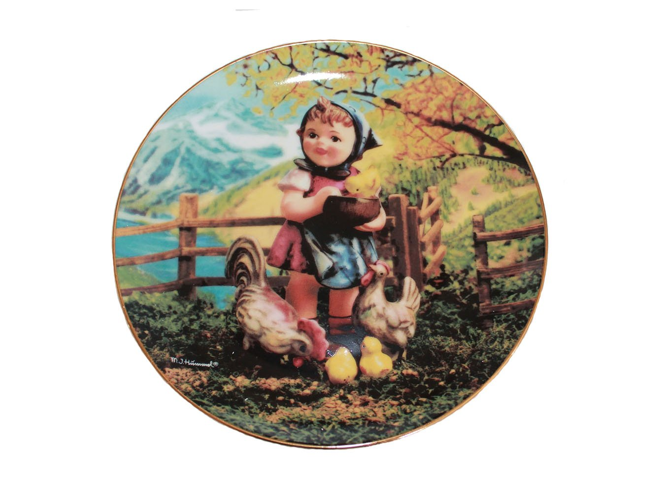 "Feeding Time by M. I. Hummel 8 1/4"""" Collectible Plate 23k Gold Rimmed no COA"