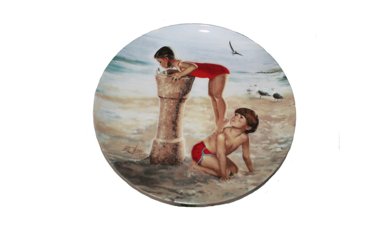 "Beach Break by Donald Zolan 7 1/2"""" Collectible Plate & Certificate & Booklet"