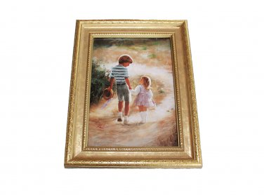 Country Walk by Donald Zolan Framed Miniature Lithograph 9 H x 7 W COA Litho