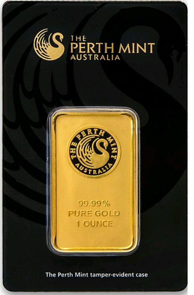 Australia Perth Mint 1 Ounce Gold Bar in Assay Certificate
