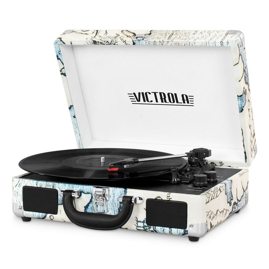 Victrola Portable Suitcase Bluetooth 3-Speed Turntable Record Player - Map Print (Ex-display)
