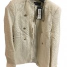 Marks & Spencer Ivory/Off White Wool Tweed Textured Longline Jacket Blazer -UK 6