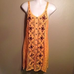 Just Cruising One Size S/M Embroidered India Made Floral Button Front Tie Dress