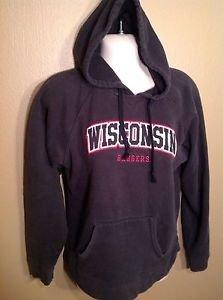 Wisconsin Badgers College Hoodie Women's Small Black Red Stretch Sweatshirt