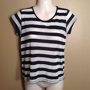 CONVERSE XS Hi-low Tunic Cotton MESH SHIRT Stripe Black White Shear Grunge