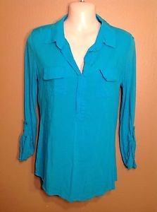 Flattering a.n.a Small Vibrant Blue Hi-Low Tunic 3/4 Sleeve Rayon Comfy Shirt