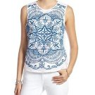 LUCKY BRAND Large Embroidered Medallion Mesh Front Tank Top White Blue Buckle