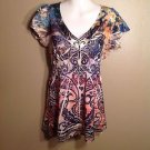 ONE WORLD Small Stretch Mesh Satin Floral Paisley Boho Tattoo Shirt Blouse Top