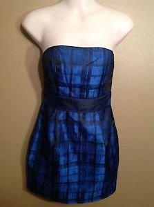 FOREVER 21 Small Metallic Shiny Blue Black Plaid Crosshatch Strapless Mini Dress