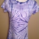 Stranded Medium Junior's Tie Dye Tye Die Purple White Cotton Hypie T-Shirt Tee