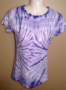 Stranded Medium Junior's Tie Dye Tye Die Purple White Cotton Hypie T-Shirt Tee