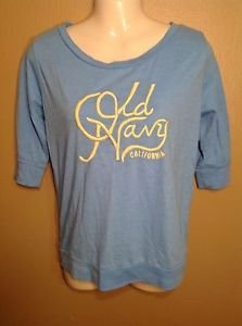 Old Navy Small Light Blue Yellow Embroidered Stitch Logo 3/4 Sleeve T-shirt Tee