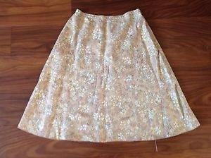 J JILL Small Petite Linen Neutral Beige Spring Floral Elastic Waist Zipper Skirt