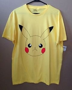 Pokemon Mens XL NWT Angry Pikachu Expression Graphic Yellow Cotton T-shirt