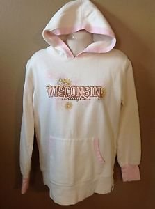 Wisconsin Badgers Women's Large White Flowers Girly Cotton Hoodie Sweatshirt