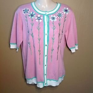 Bob Mackie Small Spring Flower Wearable Art Pink Short Sleeve Sweater Cardigan