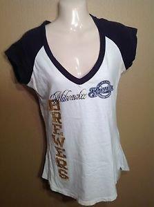 Womens Medium Metallic Milwaukee Brewers Wisconsin Baseball vneck Blue Tshirt