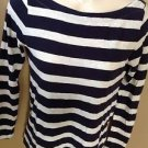 Ann Taylor LOFT Xs Navy Blue Heathered Nautical Striped Cotton Long Sleeve Shirt