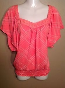 Charlotte Russe Small Pink Salmon Lace Loose Batwing Plaid Crosshatch Shirt