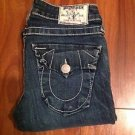"True Religion ""Billy"" Dark Straight Leg White Thick Stitch Jeans 24 x 31 Stretch"