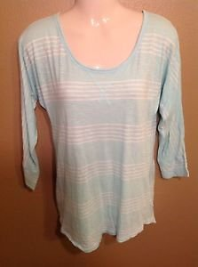 Old Navy Small Pastel Blue White striped High-low tunic shirt