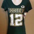 Women Junior Small Aaron Rodgers Green Bay Packers Metallic Jersey T-shirt NFL