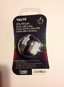 NEW & SEALED  TZUMI 30-pin 3 Ft USB Cable APPLE iPHONE iPOD