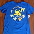 Pokemon Mens Large Pikachu Gotta Catch Em All Graphic Blue Cotton T-shirt NWT