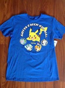 Pokemon Mens Large Pikachu Gotta Catch Em All Graphic Blue Cotton T-shirt NWT