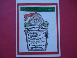 Ho Ho Ho We Love Santa Red Christmas Card