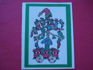 Country Christmas Card Tree In A Wagon
