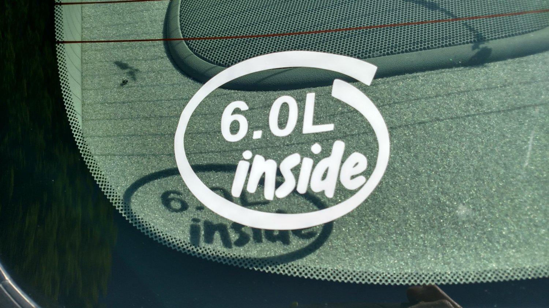 6.0L Inside Vinyl Car Window Bumper Sticker Decal Laptop 6.0 GM Vortec Ford L96 LS