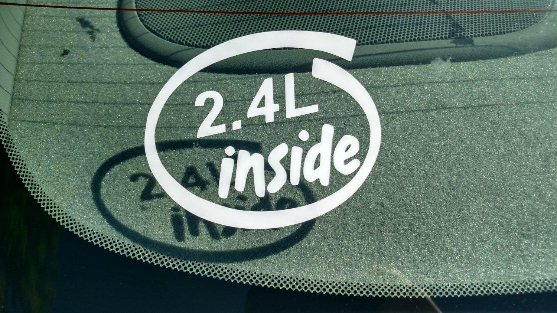 2.4L Inside Vinyl Car Window Bumper Sticker Decal Laptop 2.4 I-4 Chrysler GM Honda Ecotec Kia
