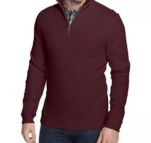 Tasso Elba - Men's Zip 1/4 Zip Pullover 100%  Cotton Knit - Size Small NWT Red