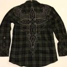 ROAR - Gray/Black Plaid Casual Shirt NWT Medium $80 MSRP