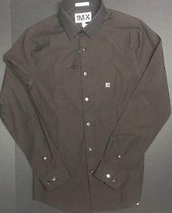 EXPRESS MEN�S DRESS SHIRT EXTRA SLIM FIT NWT Small 1MX Sateen CHOCOLATE BROWN