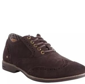"""SNEAKY STEVE """"Barhill"""" Tooled Oxford - Brown Suede Lace-Up Shoes  Size 10 $$245"""